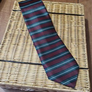 Rene Chagal Tie Red Green Black and White Stripe